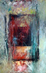 """Andi Schoenbaum Abstract 1, 2008 Oil and Acrylic on Canvas 36"""" x 55"""" In the collection of Victoria Osborn"""