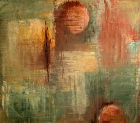 """Andi Schoenbaum Abstract 5, 2009 Oil on Canvas 56"""" x 48"""" In the collection of Dawnelle Miesner."""