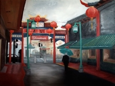 "Andi Schoenbaum Chinatown, 2009 Oil on Canvas 40"" x 30"" In the collection of the Chinese Historical Society of Southern California."
