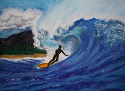 "Andi Schoenbaum Grannis Sunset, 2011 Watercolor & Gouache on Paper 10"" x 8"""