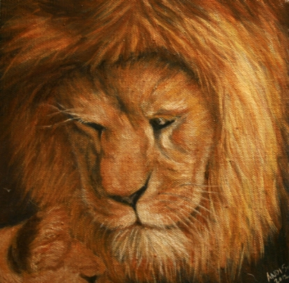 "Gentle Lion 6""x6"" Oil on Canvas Andi Schoenbaum, 2012 In the collection of Thane Carter"