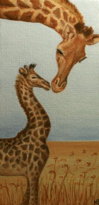 "Mama & Baby Giraffe (Inspired by Carol Walker Photography) 3""x8"" Oil on Canvas Andi Schoenbaum, 2012 In the collection of Thane Carter"