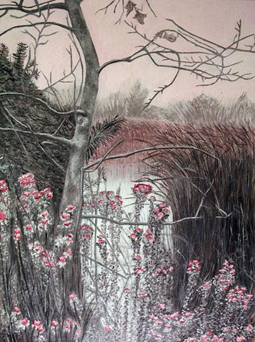 """Andi Schoenbaum La Ballona Wetlands in Alizarin Crimson, 2008 Oil on Canvas 18"""" x 24"""""""