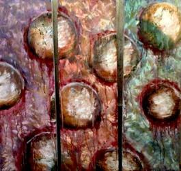 """""""Intervals"""" Andi Schoenbaum Triptych 30""""x30"""" Oil on Canvas 2011"""