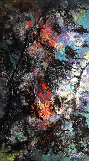 """Fuckin Laundry,"" mixed media painting on wood, 6.5"" x 11.25"" Andi Schoenbaum 2018"